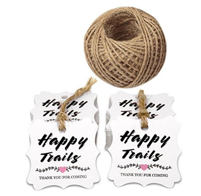Happy Trails Tags,Thank You for Coming Kraft Paper Tags,100PCS ''Happy Trails Thank You for Coming'' Printed Gift Tags with 100 Feet Twine - JijaCraft