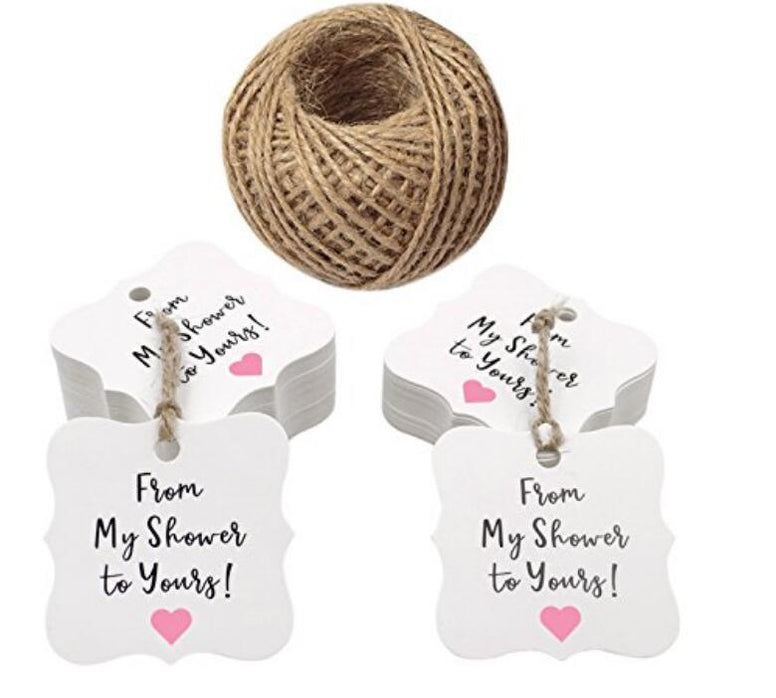 from My Shower to Yours Tags,100PCS Baby or Bride Shower Favor Tags,Kraft Paper Gift Hang Lables,Fancy Shape Gift wrap Tags with 100 Feet Jute Twine - JijaCraft