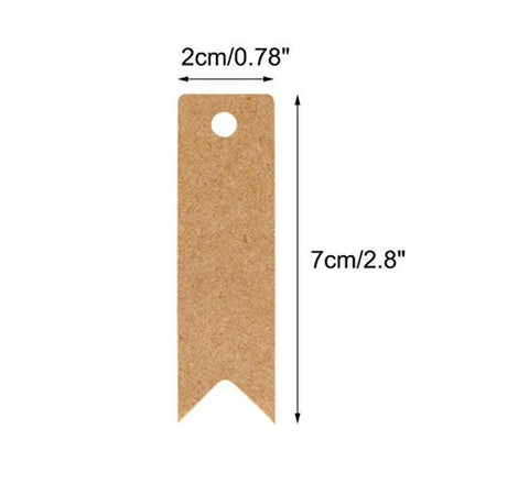 Gift Tags 100 PCS Paper Hang Tags with String, Craft Gift Tags, 7 cm x 2 cm Mini Size Flag Tags, Wedding Favor Tags with 30 Meters Jute Twine - JijaCraft