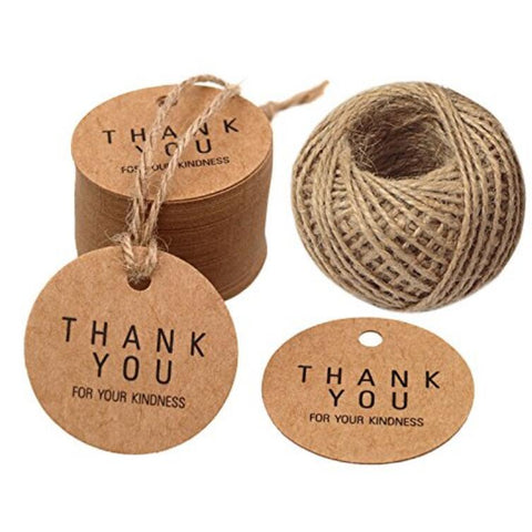 Thank You Gift Tags 100 PCS Kraft Paper Hang Tags with 30M Jute Twine for Wedding Party Favor,Mother's Day - JijaCraft