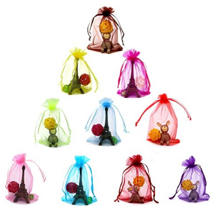 "100 PCS 4X5"" MultiColor Organza Gift Bags Wedding Party Festival Favor Bags Jewelry Pouches Drawstring Bags(10 Colors) - JijaCraft"
