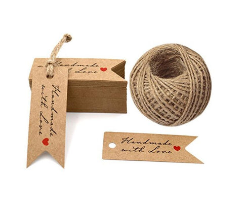 Brown Tag,Handmade with Love Tags,100 PCS Kraft Paper Gift Tags with 100 Feet Jute Twine,Paper Hang Tags for Arts and Crafts,Wedding - JijaCraft