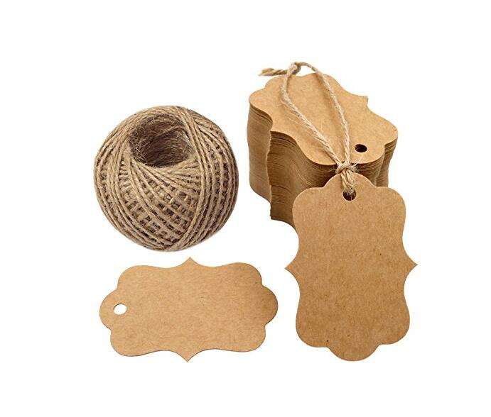 100 PCS Blank Kraft Gift Tags 7*5 CM Paper Hang Tags Price Tags with 100 Feet Jute Twine - JijaCraft
