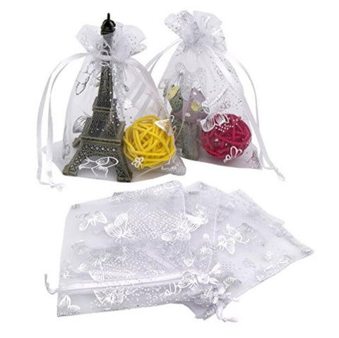 100PCS 9X12CM Drawstring Organza Jewelry Favor Pouches Wedding Party Festival Gift Bags - JijaCraft