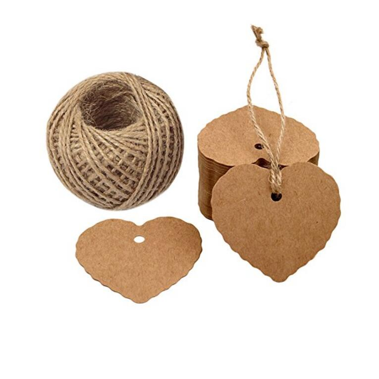 Heart Paper Tags, 100PCS Paper Gift Tags Wedding Favor Kraft Hang Tag Bonbonniere Favor Gift Tags with Jute Twine 30 Meters - JijaCraft