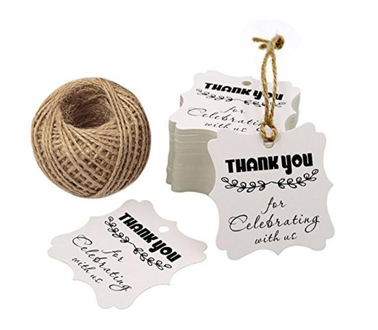 100PCS Thank You for Celebrating with Us Printed Craft Tags,Creative Kraft Paper Gift Hang Tags with 100 Feet Jute Twine - JijaCraft