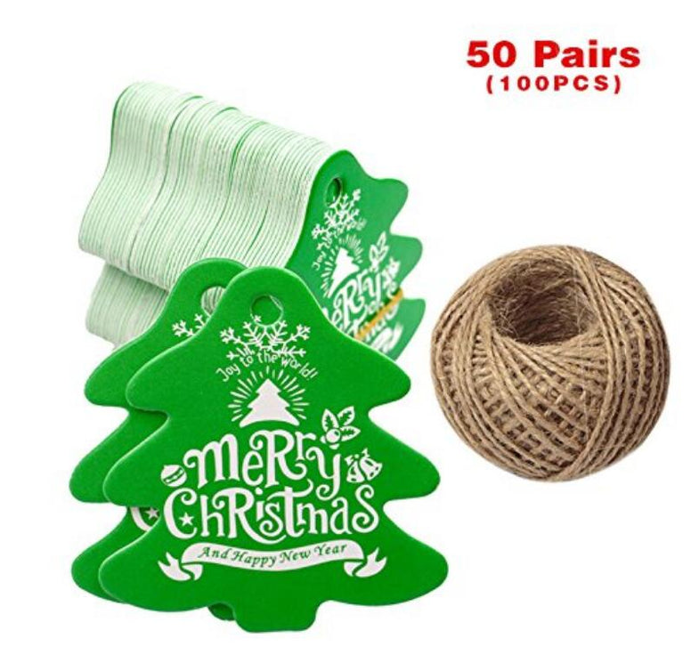 100 PCS Christmas Tree Shaped Gift Tags 5 CM 5.5 CM 'Merry Christmas And Happy New Year' Printed Paper Hang Tags with 100 Feet Natural Jute Twine - JijaCraft