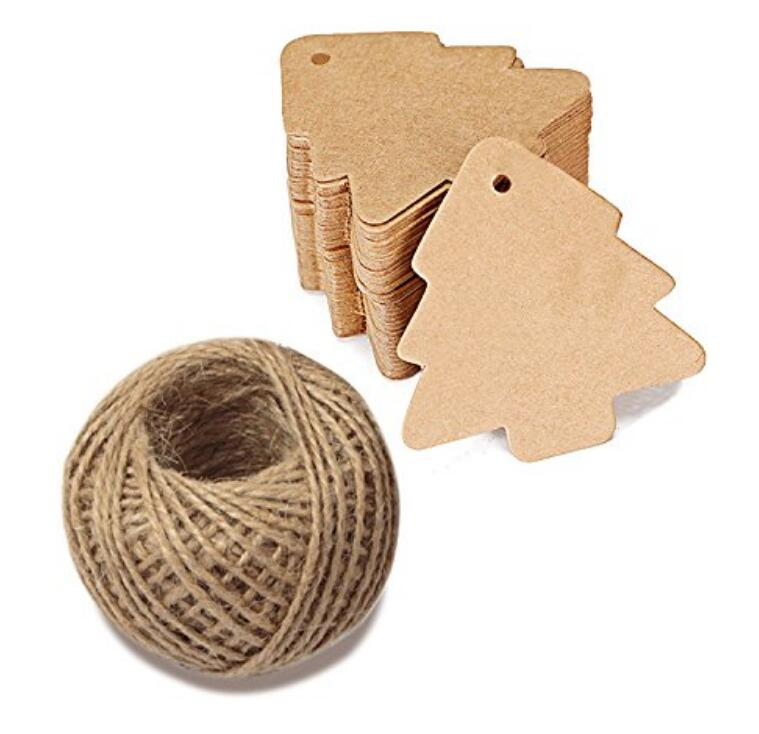 100 PCS Kraft Paper Gift Tags Christmas Tree Shape Brown Kraft Hang Tag Bonbonniere Wedding Favor Gift Tags with Jute Twine 30 Meters - JijaCraft