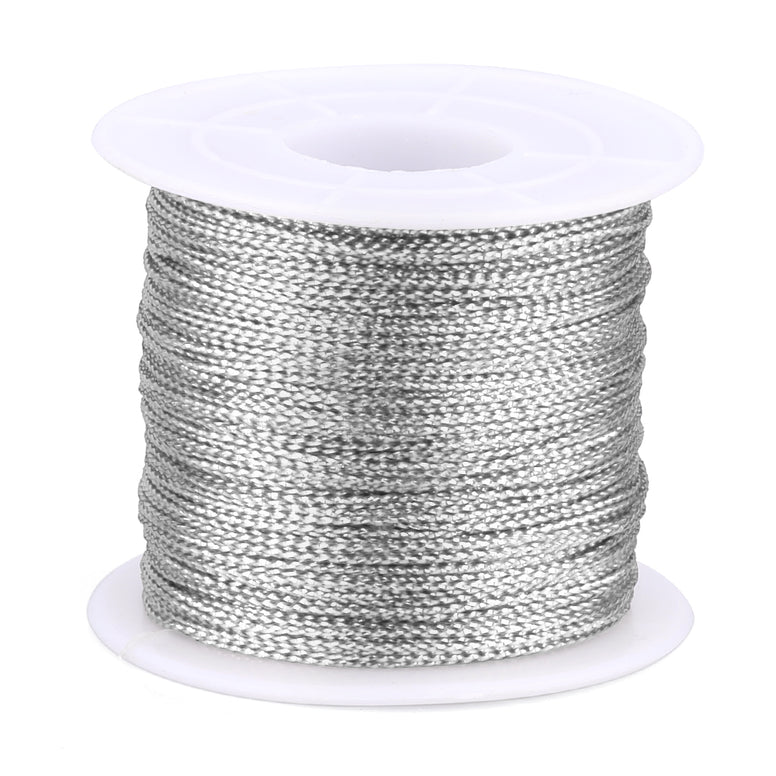 Silver Twine String,100M Silver Thread Twist Ties with Coil,Silver Metallic String for Christmas String,Polyester String Jewelry Cord, DIY Craft String Thread and Packing String - JijaCraft
