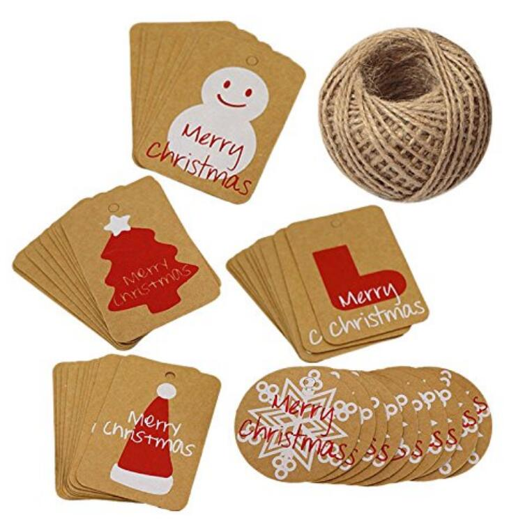 Christmas Gift Tags.Christmas Gift Tags 100 Pcs Tags For Christmas Thanksgiving Holiday Decoration Kraft Paper Labels With 30m Jute Twine String Christmas Tags Mixed