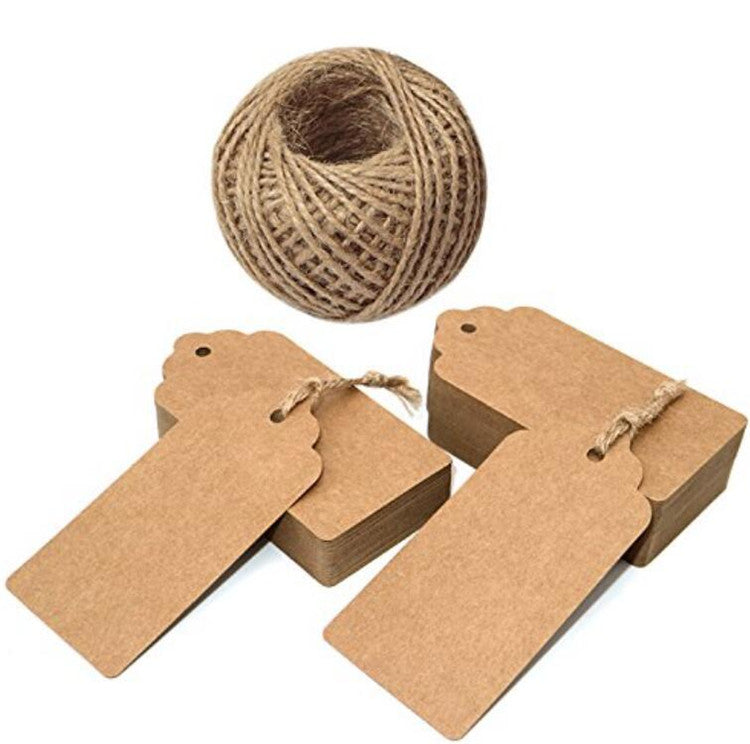 100 PCS Brown Kraft Paper Gift Hang Tags, Rectangular Thank You Hang Tag Labels,Kraft Price Tags Clothing Hang Tags with 30 Meters Natural Jute Twine - JijaCraft