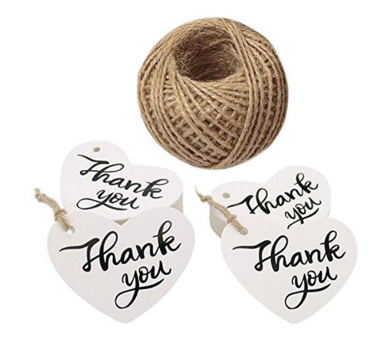 "Thank You Tags,100 PCS Heart Shape""Thank You"" Printed Kraft Paper Gift Tags,White Wedding Favors Tags with 30M Jute Twine for DIY Crafts Hang Label - JijaCraft"