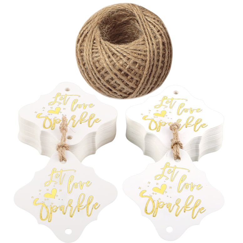 Let Love Sparkle Tags,100PCS Wedding Tags,Original Design Paper Gift Tags with 100 Feet Jute Twine (2.36 inch,Gold Font) - JijaCraft