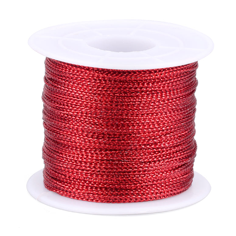 Red Twine String,100M Red Thread Twist Ties with Coil,Red Metallic String for Christmas String,Polyester String Jewelry Cord, DIY Craft String Thread and Packing String - JijaCraft