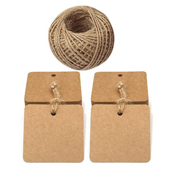 100 PCS Square Paper Gift Tags with 30 M Jute Twine for Crafts Hang Tags, Luggage Tag, Price Tags, DIY tags - JijaCraft