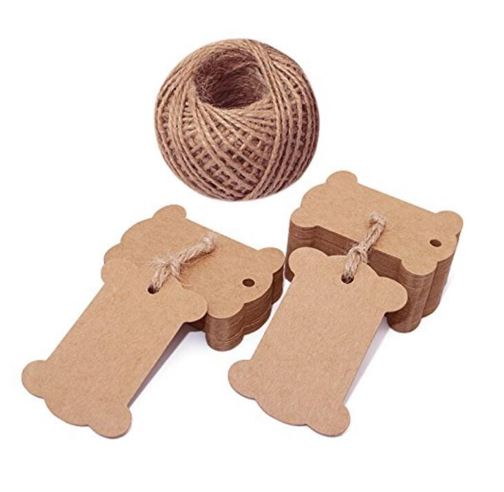 100 PCS Brown Bone Shape Kraft Paper Gift Tags, Kraft Hang Luggage Tags Wedding Favor Tags with 100 Feet Jute Twine - JijaCraft