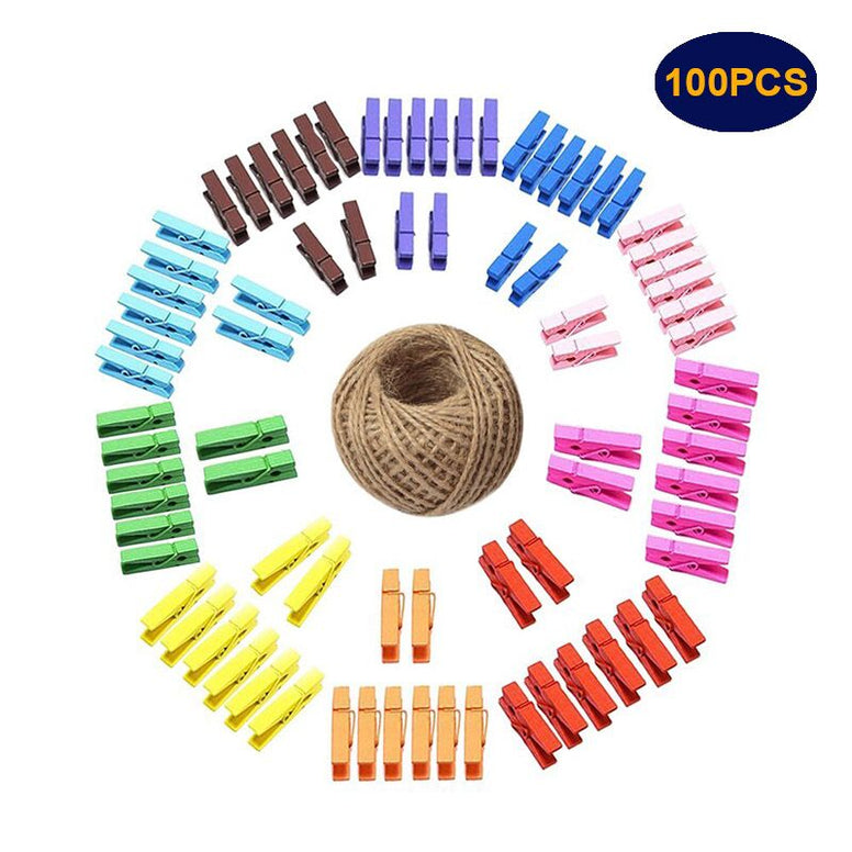 Colorful Wooden Pegs,3.5 CM Mini pegs,100 Pcs Wooden Photo Clips,Mini Clothespins with Spring, Photo Paper Peg,Craft Pegs with 30 M Jute Twine - JijaCraft