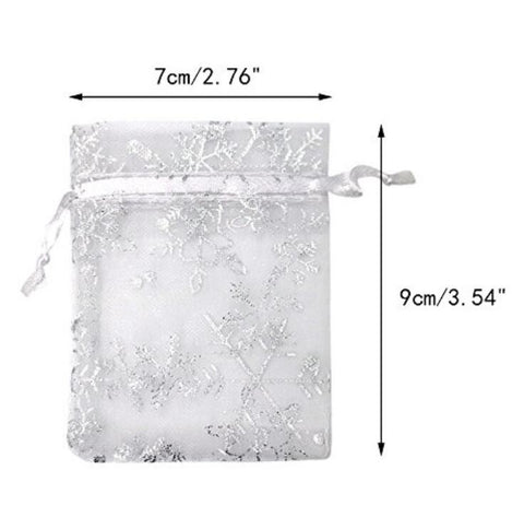 100 PCS 2.7'' x 3.5'' Snow Flakes Organza Wedding Gift Bags, Drawstring Jewelry Pouch Bags Silver White Snow Sheer Party Favor Bags - JijaCraft