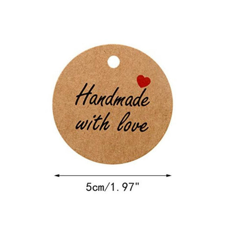 100 PCS Brown Kraft Hang Tags 'Handmade with love' Printed Tags with 100 Feet Jute Twine - JijaCraft