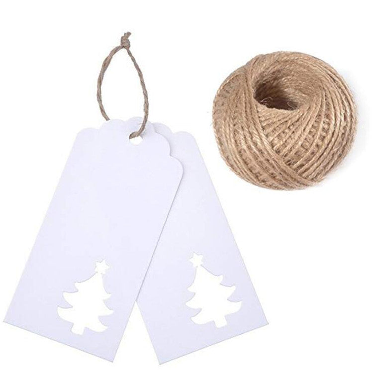 100 PCS Kraft Paper Tags Hollow Christmas Tree Design Rectangle Craft Hang Tags Bonbonniere Wedding Favor Gift Tags with Jute Twine 30 Meters Ideal for Crafts Tags, Price Labels - JijaCraft
