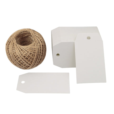 100 PCS Paper Gift Tags 7*4 CM Craft Tags with String Blank Hang Tags,Price Tags with 100 Feet Jute Twine - JijaCraft