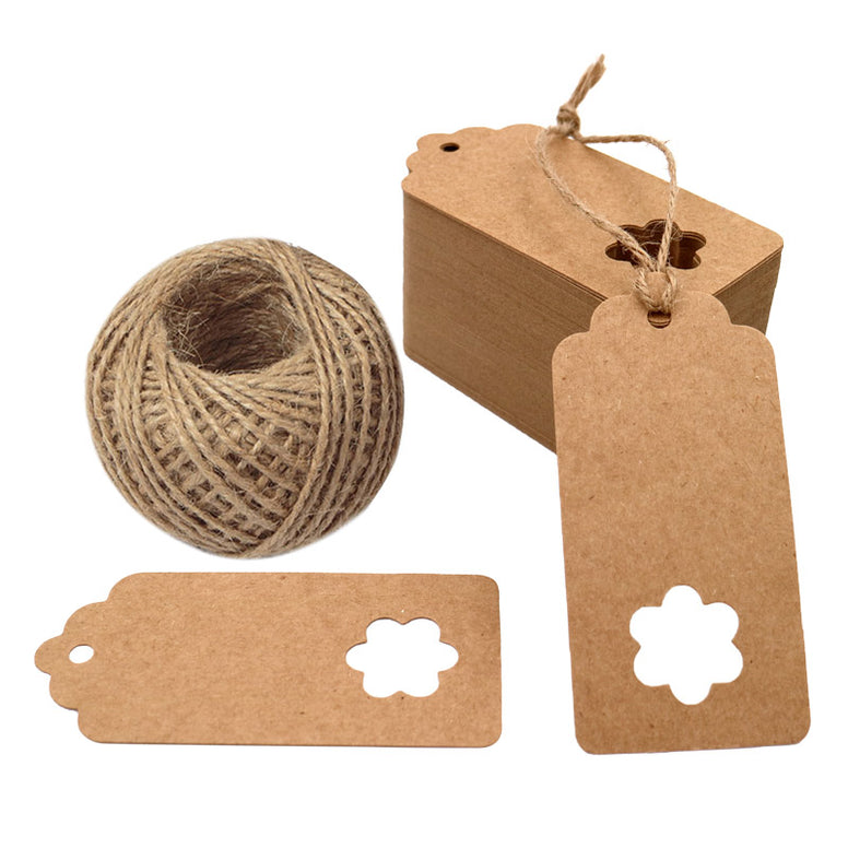 Gift Tags,100 Pieces Kraft Paper tags,Hollow Flower Gift Tags for Christmas Day and Wedding or Birthday Party Brown Kraft Hang Labels Tags with 30 Meters Natural Jute Twine. - JijaCraft