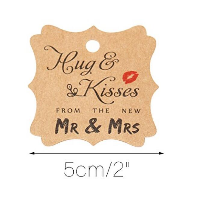"Wedding Paper Tags,""Hug & Kisses FROM THE NEW MR & MRS"" Printed 100 PCS Kraft Paper Tags,Creative Wedding Valentine's Day Favor Kraft Hang Tags with 100 Feet Jute Twine - JijaCraft"