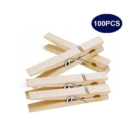 100 Pcs 7.2 CM Jumbo Wooden Clothespins Large Clothespins Photo Paper Pegs Craft Wood Photo Clips - JijaCraft