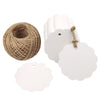 100PCS Paper Gift Tags with String,6 CM Bonbonniere Favor Gift Tag with Jute Twine 30 Meters - JijaCraft