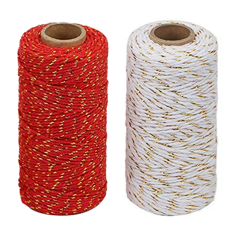 100 M Red&Gold String and 100 M White&Gold,2MM Christmas Cotton Twine - JijaCraft