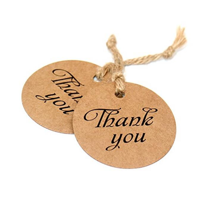 100 PCS Kraft Paper Tags with Thank You Printed,Round Gift Hang Tags,Valentine's Day Craft Tags with 100 Feet Jute Twine - JijaCraft