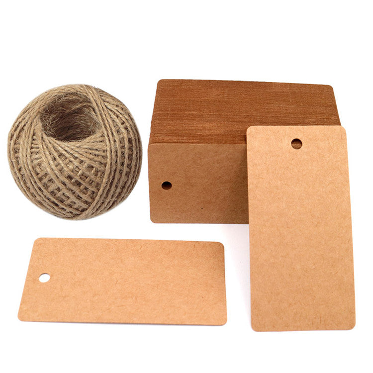 100 PCS Paper Gift Tags,Rectangular Wedding Favor Kraft Hang Tags,Luggage Tags with 100 Feet Jute Twine - JijaCraft