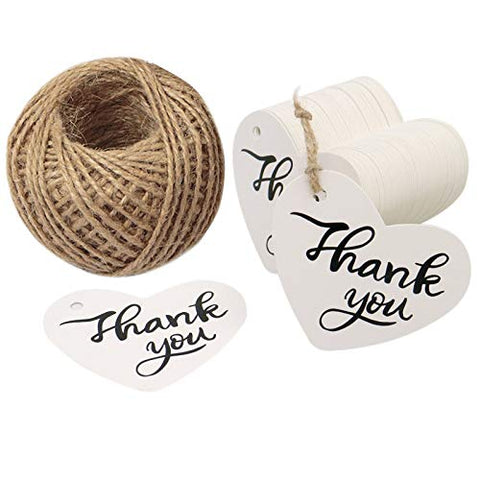 Thank You Tags,100 Pcs Kraft Paper White Gift Tags for Wedding Favor Party Tags with 100 Feet Jute Twine - JijaCraft