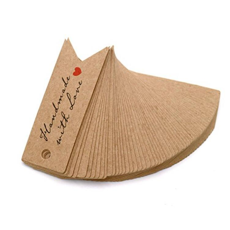 100pcs Kraft Paper HANDMADE WITH LOVE Gift Tags Wedding Favor Tags