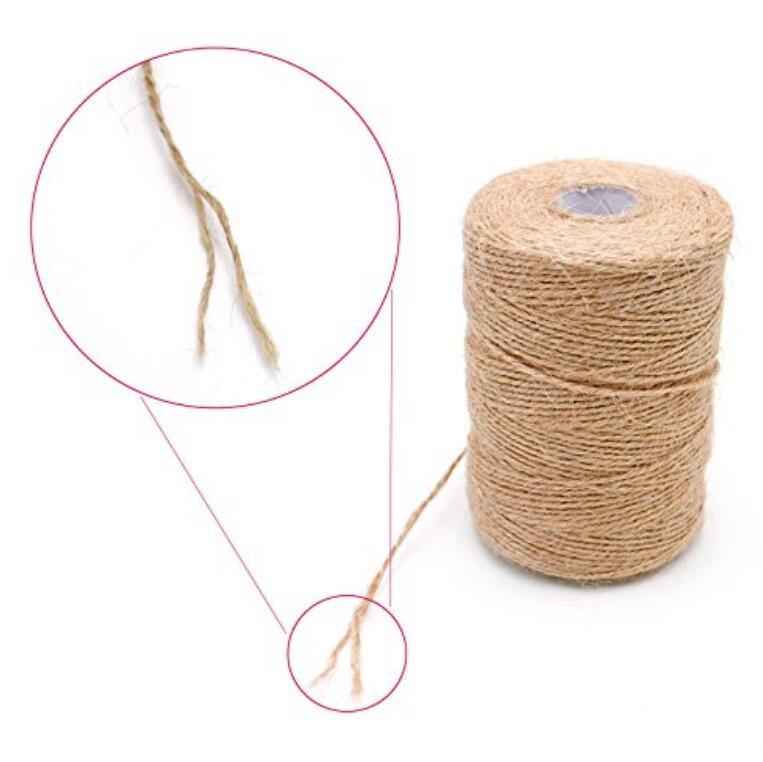 200M 2 Ply Jute Twine Natural Durable Packing Jute String Thick Hemp Rope Crafts Gift Twine(1 mm) - JijaCraft
