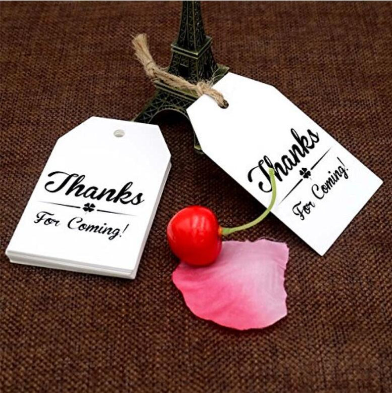 Thanks for Coming Tags 100 PCS Kraft Tags,Paper Gift Tags with 100 Feet Natural Jute Twine Perfect for Baby Shower,Wedding Party Favor - JijaCraft