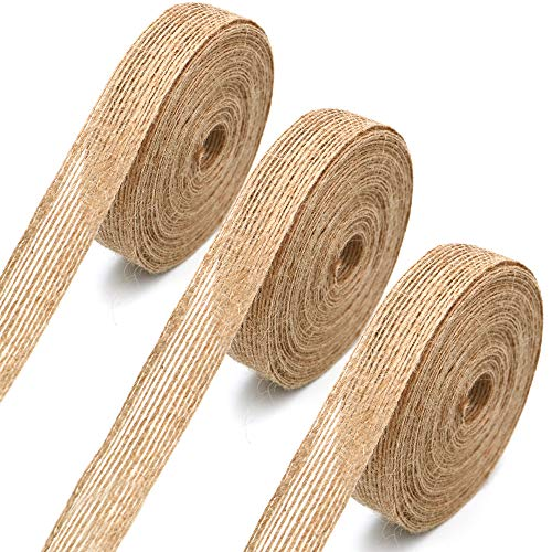 Jute Ribbon,30M Natural Burlap Fabric Ribbon,3PCS Hessian Craft Ribbon Band for Gift Wrapping,Wedding Events Party and Home Decor (10M Each roll,2cm Wide) - JijaCraft