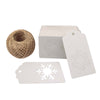 Christmas Tags,100PCS Hollow Snowflake Shape Kraft Paper Gift Tags Rectangular Merry Christmas Label Hang Tags DIY Christmas Decorations with 100 Feet Natural Jute Twine - JijaCraft