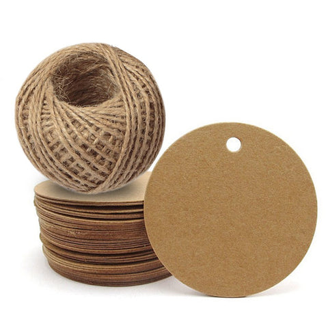 Kraft Paper Gift Tag with 100 Feet Jute Twine, Round Shaped 5.5 cm Blank Hang Tags for Craft Projects, Xmas Gifts - JijaCraft