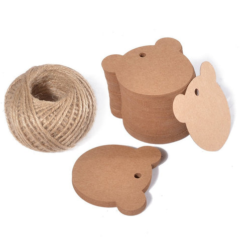 100 PCS Kraft Gift Tags Bear Shaped Brown Favor Tags with 100 Feet Jute Twine - JijaCraft