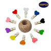 100Pcs Mini Colorful Wooden Clothespins,Heart Shape Pegs, Photo Paper Clips with 30 Meters Jute Twine for DIY Decorations - JijaCraft