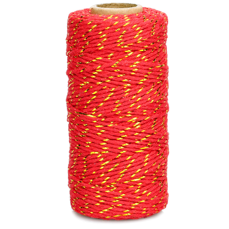 100 M Red and Gold String,Red Christmas Cotton Twine - JijaCraft