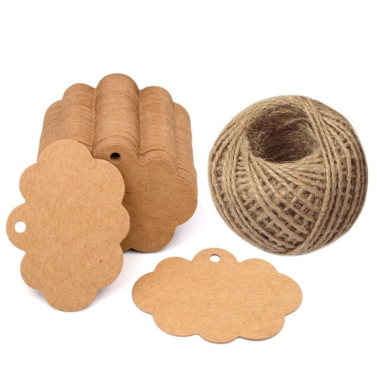100 PCS Craft Paper Gift Tags 5CM 7CM Cloud Shape Wedding Party Favor Labels with 30 Meters Natural Jute Twine - JijaCraft