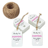 Gift Tags Thanks for Popping By to Celebrating with Us,100Pcs Paper Hang Tag for Wedding,Baby Shower Party Favors with 100 Feet Jute Twine (Rose Pink) - JijaCraft