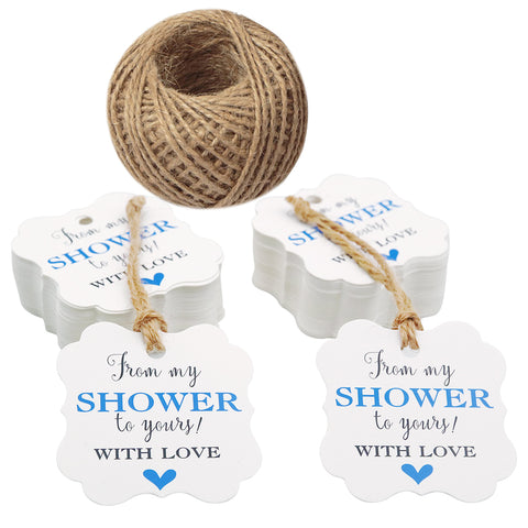 Original Design 100 Pcs From My Shower to Yours with Love Tags and 100 Feet Jute Twine,Blue Bridal Shower Favor Tags,Baby Shower Favor Tags - JijaCraft