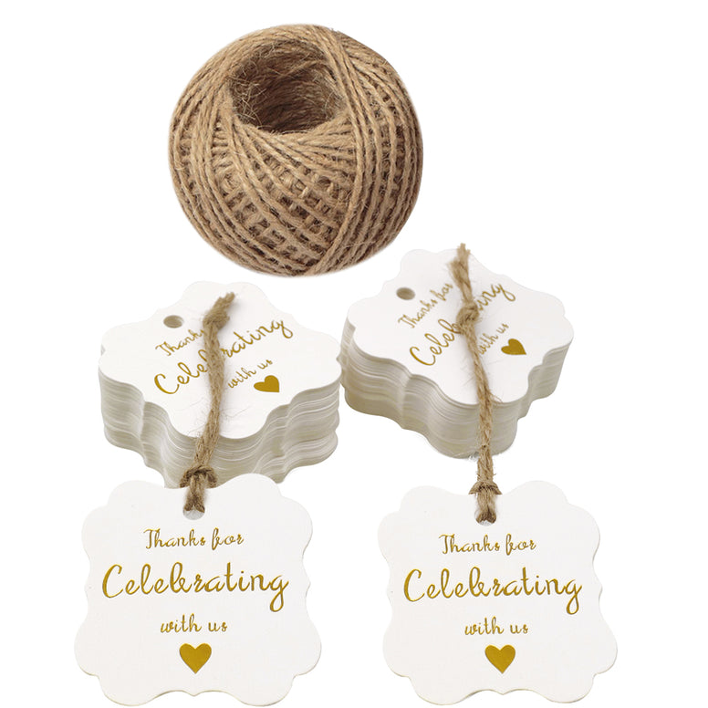 Original Design Paper Gift Tags,Thank You for Celebrating with Us Tags,100 Pcs White Gold Hang Tag with 100 Feet Jute Twine for Wedding Party Favors, Baby Shower - JijaCraft