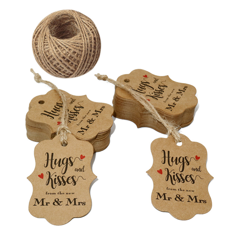 "Original Design 100 PCS Wedding Gift Tags,Hugs and Kisses from The New Mr & Mrs Kraft Paper Tags,2.8"" x 2""Brown Tags with 100 Feet Jute Twine - JijaCraft"