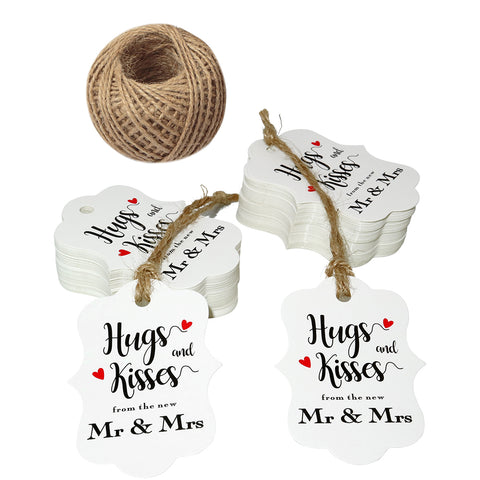 "Original Design 100 PCS Wedding Gift Tags,Hugs and Kisses from The New Mr & Mrs Kraft Paper Tags,2.8"" x 2"" White Tags with 100 Feet Jute Twine - JijaCraft"