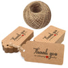 100 Pieces Kraft Paper Gift Tags Thank You for Celebrating with Us Rectangular Hang Tags with 100 Feet Jute Twine - JijaCraft