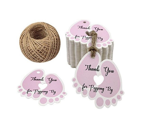 Thank You for Popping by Tags,Baby Shower Gift Tags,100PCS ''Thank You for Popping by''Blue Small Tags,Kraft Paper Hang Labels with 100 Feet Jute Twine - JijaCraft